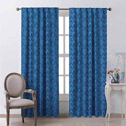 Toopeek Heat insulation curtain Curvy Hippie Scales For living room or bedroom W52 x L54 Inch