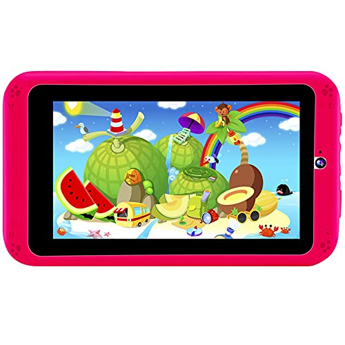 PROGRACE Kids Tablets Android 9.0, 2GB RAM 16GB ROM, 7 inch IPS HD Display, Parental Control, Dual Camera, Pre-Installed Kids Educational APP, Kid-Proof Case, Red