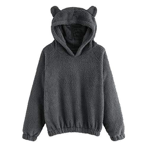 Dorical Damen Herbst Winter Hoodie Pullover Sweatshirt Bär Gestalten Fuzzy Lose Einfarbig Lange Ärmel Beiläufig Warm Outwear