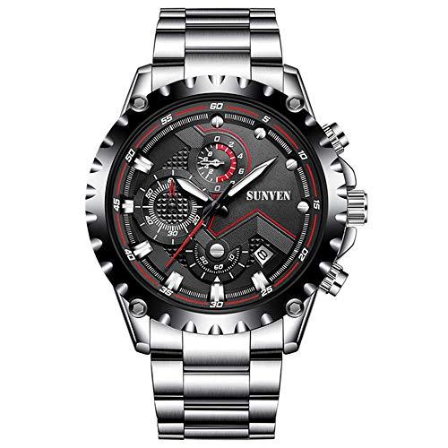 SUNVEN Hombre Reloj Blanco Impermeable Deportes Cuarzo Resistente al Agua 30M con Pulsera de Acero Inoxidable Cronógrafo y Calendario Relojes de Moda de Estilo (Negro)