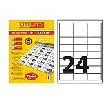 LP12//63 SMP. 12 Par Foglio Label Planet/® Etichette Metalliche in Argento A4 su Poliestere per la Stampa Laser 63.5 x 72mm 60 Etichette 5 Fogli