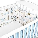 Cojin Protector Cuna Velvet 210 x 30 cm - Algodón y Terciopelo - Chichonera Bebe Cuna Azul Claro con Motivo De Tren
