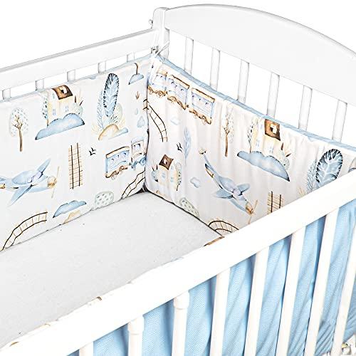 Cojin Protector Cuna Velvet - Chichonera Bebe Cuna 120x60 140x70 cm (Azul Claro con Motivo De Tren, 360 x 30 cm - Algodón y Velvet)