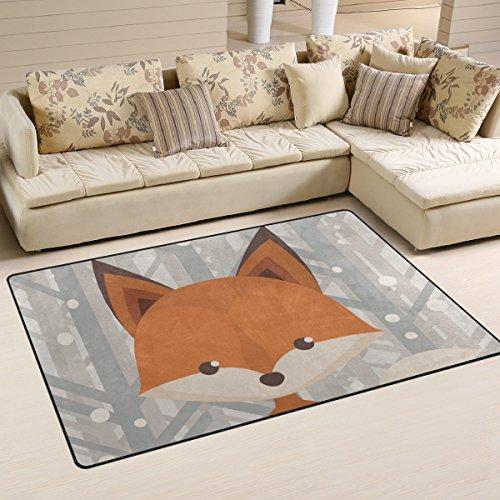 Mnsruu yibaihe, leicht, Bedruckt mit Deko-Teppich, Teppich, modern Cartoon-Muster Fuchs, wasserabweisend stoßfest. Für Wohn- und Schlafzimmer, 153 x 100 cm