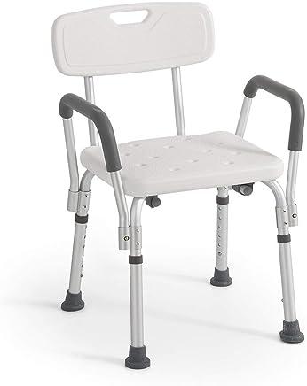 Rehab - Sedile da doccia con schienale e braccioli estraibili - Sedile da vasca, sedia regolabile in altezza - Ausilio Supporto per Anziani