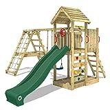 WICKEY Parque infantil de madera RocketFlyer con columpio y tobogán verde, Torre de escalada de exterior con arenero y escalera para niños