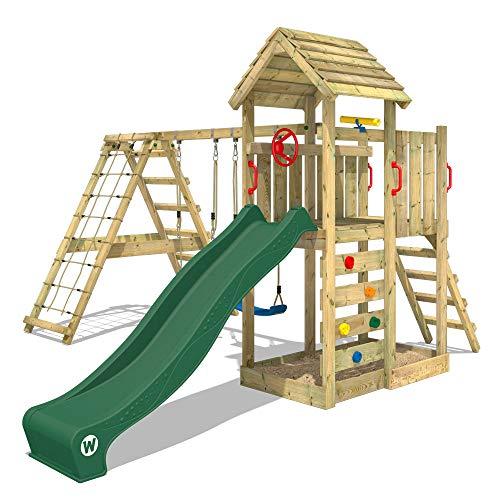 WICKEY Parco giochi in legno RocketFlyer Giochi da giardino con altalena e scivolo verde, Torre d'arrampicata da esterno con sabbiera e scala di risalita per bambini