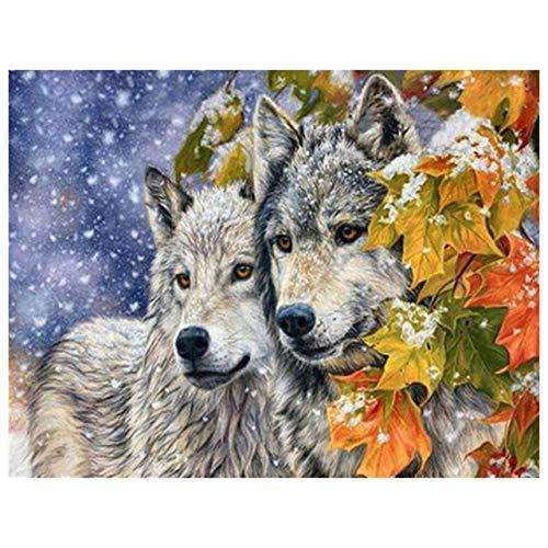 5D DIY diamante pintura animales invierno Lobo Kit taladro completo bordado mosaico arte imagen de diamantes de imitación decoración regalo A5 50x70cm