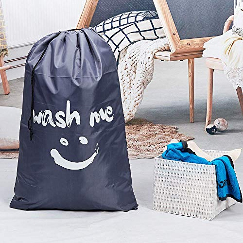 HOMEST 2 Pack XL Wash Me Travel Laundry Bag, Machine Washable Dirty Clothes Organizer, Large Enough to Hold 4 Loads of Laundry, Easy Fit a Laundry Hamper or Basket, Light Blue and Grey (Patent Design)