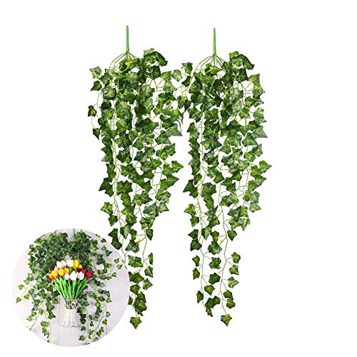 CCINEE 2 Pieces 35.4' Artificial Ivy Hanging Vine Plant Leaves Garland for Christmas Wedding Party Garden Wall Decoration