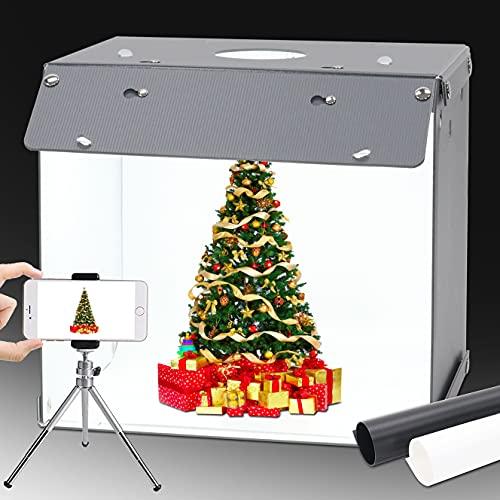Orthland 40x40x40cm Caja de Luz Fotografía Caja de Estudio Fotográfico Portátil Plegable Photo Studio con 2 Fondos de Colores(Negro/Blanco)+ 1 Placa de luz Suave