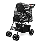 Flexzion Pet Stroller (Dot Green) Dog Cat Small Animals Carrier Cage 4 Wheels Folding Flexible Easy to Carry for Jogger Jogging Walking Travel Up to 30 Pounds with Sun Shade Cup Holder Mesh Window