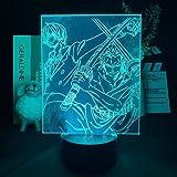 ゾロとサンジフィギュアアニメLEDライト子供の寝室装飾アニメ1ピースナイトライトベッドサイドテーブルランプファンギフト-リモコン