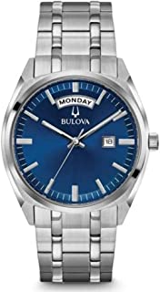 Bulova - para Hombre Reloj de Acero Inoxidable da de la Fecha Esfera Azul Brillante 96c125