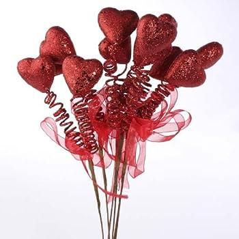 "Heart Foam Picks 10.5/"" Use in Wreaths or Floral Arrangements Choose Pink or Red"