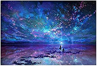 50 X 40CM DIY 5D Diamond Painting Aurora Stars by Number Kits, Crystal Diamond Embroidery Painting Cross Stitch for Home D...