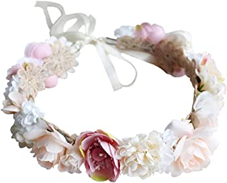 Fashband Women Flower Headband Wreath Crown Halo Floral Wedding Garland Headpiece Festivals Party Photo Props Adjustable (A)
