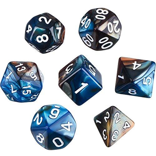 Set di Dadi Poliedrici 7-Die per Dungeons e Dragons con Sacchetto Nero (Blu Marrone)