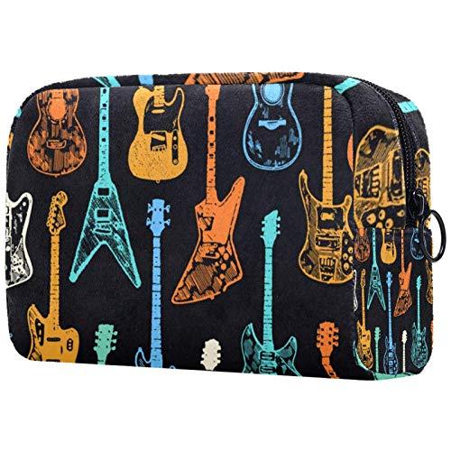 Kosmetiktaschen für Frauen, Schminktaschen Geräumige Kulturbeutel Reiseaccessoires Geschenke - Bunte Gitarrensammlung
