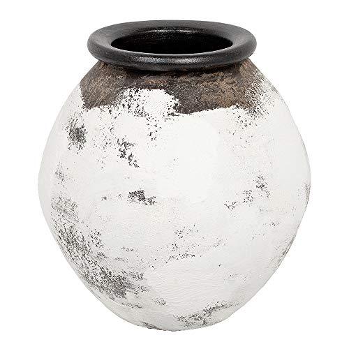 LEBENSwohnART Deko-Vase KALIFIA Antik-Weiß-Schwarz ca. H38cm Standvase Bodenvase Terracotta