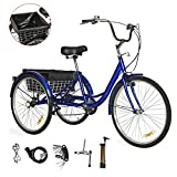 EOSAGA Adult Tricycle 7 Speed 24/26 Inch Trike Cruiser Bike Three-Wheeled Bicycle Brake System for Recreation, Shopping with Lock, Pump, Rivel Extractor, Assembly Tool (Blue (7Speed,26 inch))