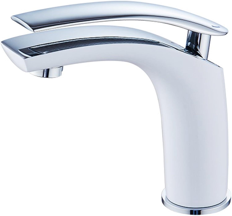 FL- White Washbasin Hot And Cold Fine Copper Faucet (color   White)