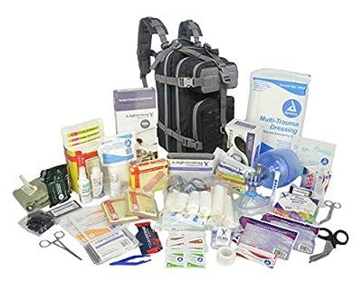 Lightning X Stocked EMS/EMT Trauma & Bleeding First Aid Responder Medical Backpack + Kit - Black/Grey
