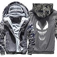 メンズコットンパッド入りフリースシェルパ裏地フルジップアップパーカースウェットシャツジャケット (Color : Dark gray, Size : M)