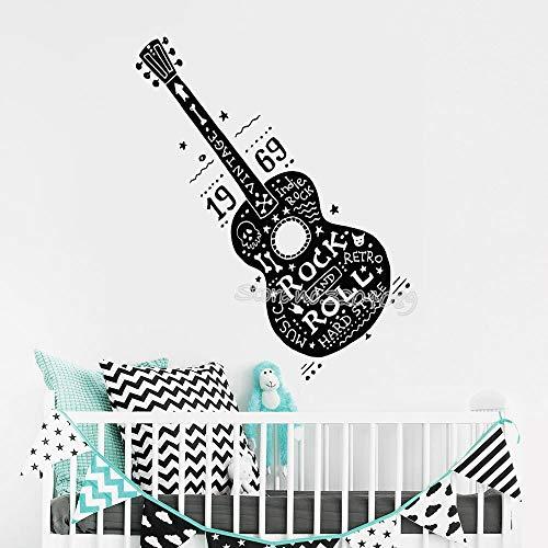 zhuziji Rock Gitarre Musik wandaufkleber Retro Hard Hippie Musikinstrument abnehmbare Vinyl wandtattoo Dekoration Wohnzimmer poster42x106cm