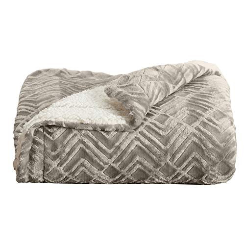 Premium Reversible Two-in-One Sherpa and Fleece Velvet Plush Blanket. Fuzzy, Cozy, All-Season Berber Fleece Throw Blanket. by Home Fashion Designs Brand. (Taupe)