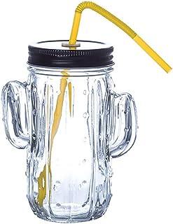UPKOCH Tarros de Vidrio de Mason Jarras de Tarro de Masón con Tapas Y Pajitas Vasos de Gelatina Frascos para Fiesta en Casa (Vidrio de Cactus Transparente)