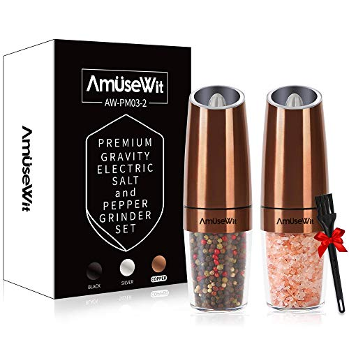 Gravity Electric Salt and Pepper Grinder Set - Battery Operated Automatic Salt and Pepper Mills with White Light,Adjustable Coarseness,One Handed Operation,Utility Brush,Copper by AmuseWit