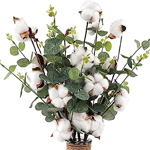 Flores secas para jarrón, 4 cabezas de algodón, tallos de algodón, cada rama se puede doblar, flores de algodón artificiales, flores secas para hacer coronas, para decoración floral de estilo casa de