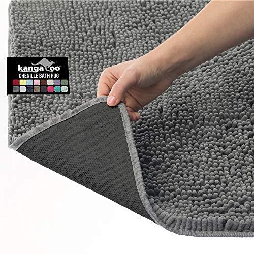 Kangaroo - Alfombra de baño de felpilla de lujo, 36 x 24, extra suave y absorbente, lavable, parte inferior fuerte, alfombra de felpa...
