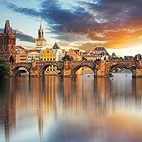 3D壁紙美しいヨーロッパの建築日没の風景3D壁壁画リビングルーム背景壁画-130x60cm