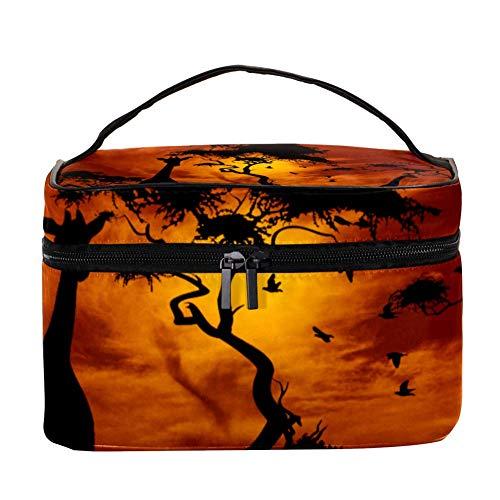 Sunset Girafes avec motif arbres - Trousse de toilette de voyage avec poignée, pinceaux de maquillage, rouge à lèvres