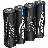 ANSMANN - Pilas AA (2800 mAh, NiMH, 1,2 V, Recargable, Alta Capacidad, Ideal para Altas Necesidades de Electricidad como vehículos controlados, Teclado, cámara de Caza y Flash (4 Unidades)