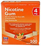 Rite Aid Nicotine Gum, 4 mg - 100 Count | Quit Smoking Aid | Nicotine Replacement Gum (Fruit)