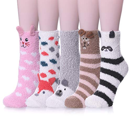 ZaYang 5 Pack Womens Microfiber Sleeping Socks Cute Animal Soft Fuzzy Warm Winter Slipper Socks...