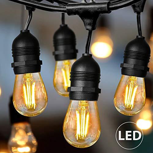 Albrillo LED Lichterkette Außen - 15M Lichterkette Glühbirnen Außen mit 15 LED E27 Vintage Edison Birnen, Wasserdicht Deko Licht für Garten, Zuhause, Party, Bar, Balkon, Hochzeiten, 2500K Warmweiß