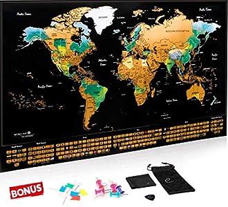 Escapades Mapa Mundi rascar XXL, edición Original con Las Banderas de Todos los países. El Regalo Ideal para los viajeros. Tamaño Grande: 69 x 44 cm + Accesorios Gratis