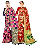 Paquete de 2 sari para mujer Banarasi Art Silk Woven Gift Sari | Sari de boda india y blusa sin costura