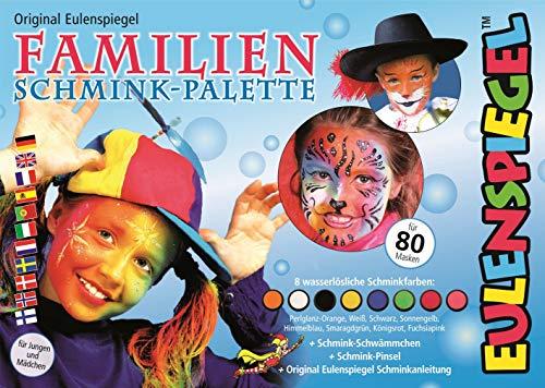 Eulenspiegel 208014 - Familien Schmink-Palette, 8 Profi-Aqua Farben, 1 Schwamm, 1 Pinsel, 1 Schminkanleitung