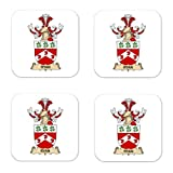 MyHeritageWear.com Ryan Family Crest Square Coasters Coat of Arms Coasters - Set of 4