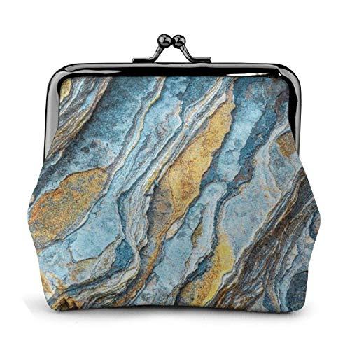 Monedero con Hebilla Exquisita de Cuero PU con Textura de Piedra, Monedero clásico, Monedero con Cierre de Beso, Monedero, Regalo