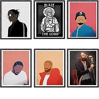 Set of 6 Art Prints,Popular Hiphop Music Rapper Singer Canvas Art Prints,8 x 10 Inches,No Frame