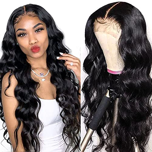 Megalook Lace Front Wigs Human Hair 20inch Transparent 4x4 Lace Closure Wigs Body Wave Human Hair Wigs For Black Women Wavy Closure Wigs Pre Plucked Hairline with Baby Hair