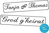 Original KFZ-Kennzeichen Hochzeit Autoschilder Hochzeitsschilder Namensschilder Grod g'heirat, Namen und Ringe 0184-0001