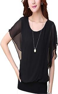 Thx Style Women's Loose Casual Short Sleeve Chiffon Top T-Shirt Blouse Scoop Neck