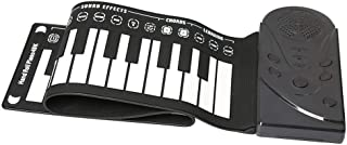 Elrido Portable Electronic Piano Keyboard Kids 49-Key Roll-Up Piano Keyboard Portable Flexible Musical Educational Toy Instrument Soft Responsive Keys Universal Soft Roll Up Piano (Black)